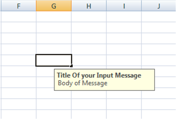 How to add an Input Message in Excel