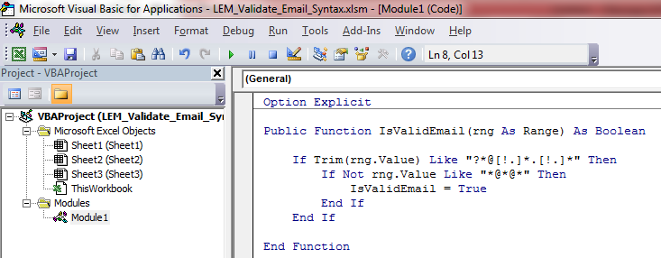 Pic 1 - Function - Email Syntax Validation