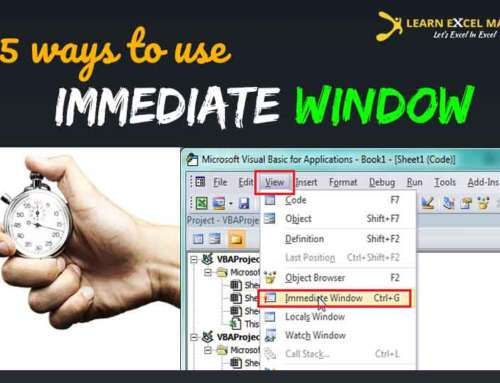 What is Immediate Window  and how to use it in Excel VBA